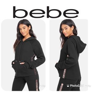 NWT BEBE Black Side Sequin Hoodie Sz XL $89!